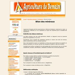 AGRICULTURE DE DEMAIN - 2009 - Bilan des minéraux