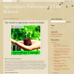 The Guide to Agronomy courses in India