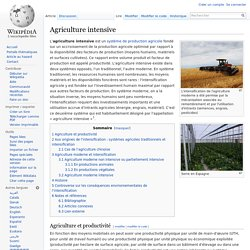 Agriculture intensive