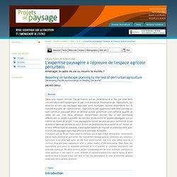 L'expertise paysagère à l'épreuve de l'espace agricole périurbain