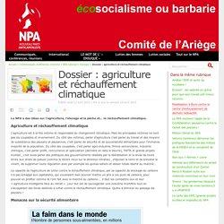 Dossier : agriculture et réchauffement climatique - NPA - Comité de l'Ariège