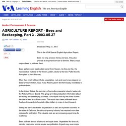 AGRICULTURE REPORT - Bees and Beekeeping, Part 3 - 2003-05-27