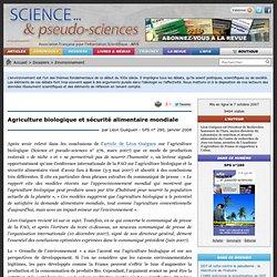 Agriculture biologique et sécurité alimentaire mondiale