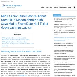 MPSC Agriculture Service Admit Card 2016 Krushi Seva Mains Exam Date