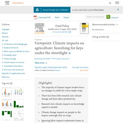 Food Policy Available online 11 August 2020, Viewpoint: Climate impacts on agriculture: Searching for keys under the streetlight