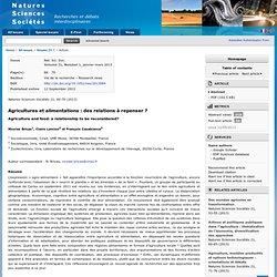 Natures Sciences Sociétés 21, 66-70 (2013) Agricultures et alimentations : des relations à repenser ?