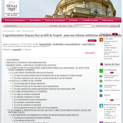 SENAT 10/07/13 Rapport : L'agroalimentaire français face au défi de l'export : pour une réforme ambitieuse du dispositif public de soutien