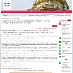 OBSERVATIONS SUR LES CONTRAINTES À L'EXPORT DANS L'AGROALIMENTAIRE.