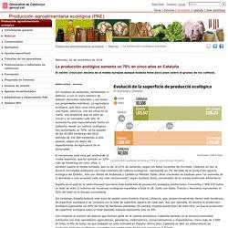 La producción ecológica aumenta un 70% en cinco años en Cataluña. Producción agroalimentaria ecológica (PAE). Generalitat de Catalunya