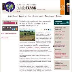 Production d'agrocarburants et accaparements de terres en Guinée, conséquences de la politique énergétique de l'UE...