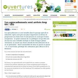 2009 - Les agrocarburants sont arrivés trop tôt !