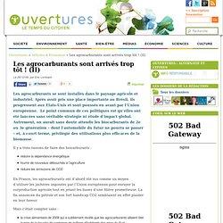 2009/12/29 - Les agrocarburants sont arrivés trop tôt !