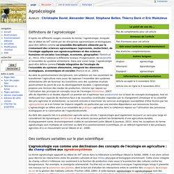 Agroécologie - Les Mots de l'agronomie