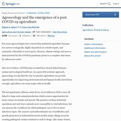 Agriculture and Human Values 12/05/20 Agroecology and the emergence of a post COVID-19 agriculture