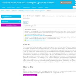 The International Journal of Sociology of Agriculture and Food - 2019 - Defining agroecology Exploring the circulation of knowledge in FAO's Global