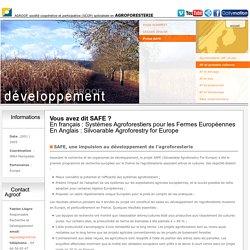 AGROOF- AGROFORESTERIE développement - Projet européen SAFE