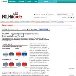 RENDA - Agronegócio puxa redução da desigualdade no Paraná