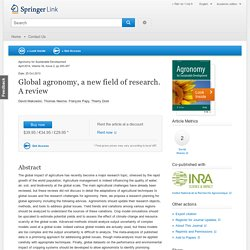 Agronomy for Sustainable Development - October 2013 - Global agronomy, a new field of research. A review