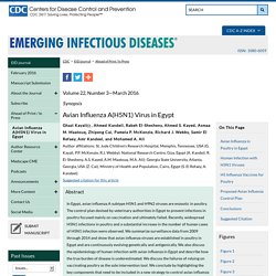 CDC EID - Volume 22, Number 3—March 2016 - Synopsis - Avian Influenza A(H5N1) Virus in Egypt