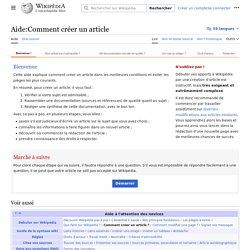 Aide:Comment créer un article