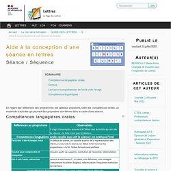 Aide à la conception d'une séance en lettres