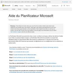 Aide du Planificateur Microsoft
