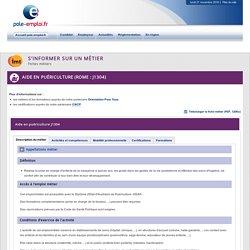 Aide en puériculture (ROME : J1304)