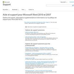 Aide et support pour Microsoft Word2010 et 2007