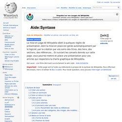 Aide:Syntaxe
