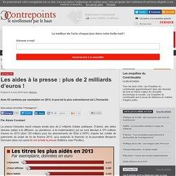 Les aides à la presse : plus de 2 milliards d'euros
