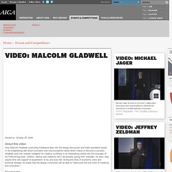 Malcolm Gladwell at AIGA Business and Design Conference October