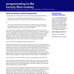 prog21: Advice to Aimless, Excited Programmers