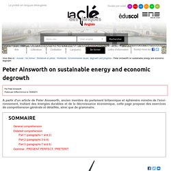 Peter Ainsworth on sustainable energy and economic degrowth