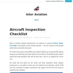 Aircraft Inspection Checklist