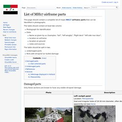 List of MH17 airframe parts - A Closer Look On Syria