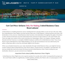 United Airlines Business Class Flights