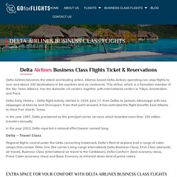 Get Delta Airlines Business Class Flights at Low Airfares