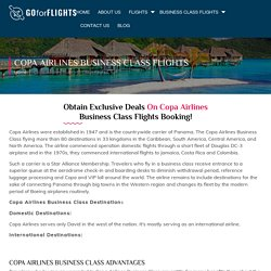 Book Copa Airlines Business Class Flight at Discounted Price