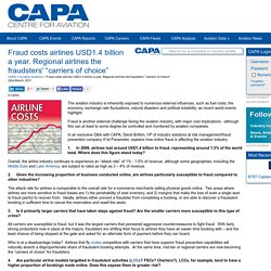 "Fraud costs airlines USD1.4 billion a year. Regional airlines the fraudsters' ""carriers of choice"""