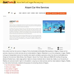 airport car hire services
