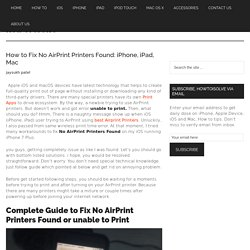 How to Fix No AirPrint Printers Found: iPhone, iPad, Mac