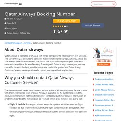Qatar Airways Booking Number +1-855-635-3039 Contact In USA