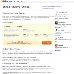 Etihad Airways Tickets & Flight Schedules