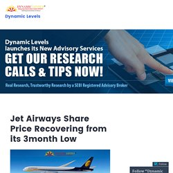 Jet Airways Share Price Recovering from its 3month Low – Dynamic Levels