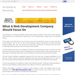 AISMarketing - What A Web Development Company Should Focus On