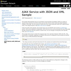 AJAX Service with JSON and XML Sample