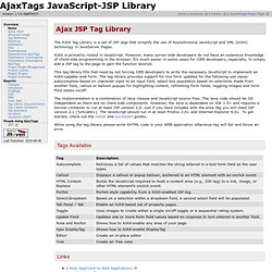 Ajax Tags: JSP AJAX Tool
