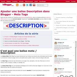 Ajouter une balise Description dans Blogger - Meta Tags
