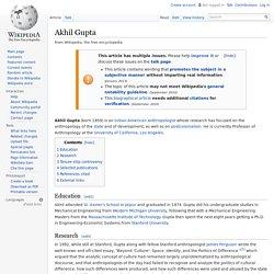 Akhil Gupta. Antropología del estado