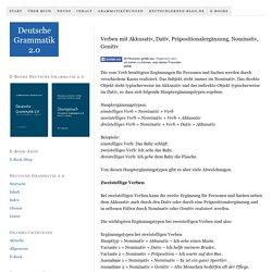 Verben mit Akkusativ, Dativ, Präpositionalergänzung, Nominativ, Genitiv — Deutsche Grammatik 2.0